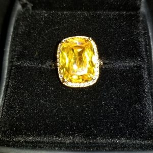 Simulated Yellow and White Diamond Bridge Ring